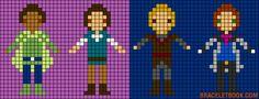 Prince Naveen, Flynn Rider, Kristoff and Hans perler bead pattern