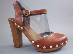 $10 Coach Carleen Distressed Boho Vtg Hippie Platform Wood Stud Heel Clog Shoe 7