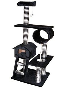 "$101.97-$229.00 Go Pet Club Cat Tree Black Color - *Color : Black * Overall Size : 26""W x 19.25""L x 60""H * Base Board Size : 23.75""W x 19.25""L * Size of Condo : 13.75""W x 13""L x 10.75""H * Top of Bed : 12""Diameter x 3.25""H * Number of Rope : 1 * Number of Ladder : 1* Number of hanging toy : 1 * Posts covered by natural sisal rope * Covering Material : Faux Fur * Board Material : Pressed Wood http://www.amazon.com/dp/B0037G0D24/?tag=pin2pet-20"