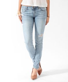 Destroyed Perma-Creased Skinny Jeans   FOREVER21 - 2000046413