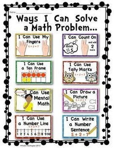 Solving Math Problems {Strategy Posters for Addition} Common Core - Kindergarten Organization 2020 Fun Math, Math Activities, Math Math, Kinder Math Wall, Insect Activities, Maths Algebra, Math Worksheets, Teaching Resources, Math Strategies Posters