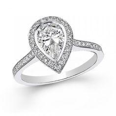 Larme diamantée - solitaire accompagné serti diamant poire 0.70 carat