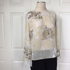 "NWOT Floral Open Belled Sleeve Blouse XUC: left side tie; 3/4 open sleeves; very light & ""flowy""; approx 21"" long; sleeves to point approx 23"" long Tops Blouses"
