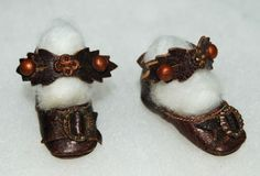 Exquisite Antique French Leather Doll Shoes with Buckles ~ Size 0 ~