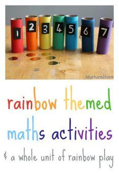 rainbow themed maths activities + a whole unti of rainbow play ideas