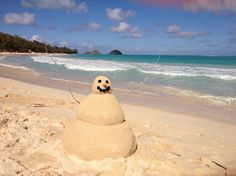 """Location: Kailua, Hawaii. This is my favorite local spot because: Hard to find a better place to celebrate Christmas with a """"Snow-Sand Man"""" than Hawaii.,,,, hmmm I like this idea for the holidays!!"""