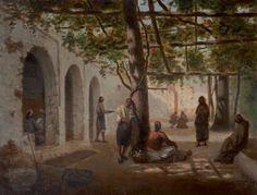 Algérie - Peintre Espagnol, Joseph SINTES (1829-1913),huile sur toile , Titre :Café maure à Alger