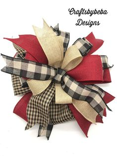 Christmas Tree Topper - Xmas Plaid decorative Bow - Handemade Designed on wired ribbon with this variety mix of vintage colors ribbons. This Christmas Bow is design on 2.5 and 1.5 inches wide ribbons. We have Red - Burgundy , Black , Beige colors - solid colors and plaid. Tied with wire for easy Merry Little Christmas, Plaid Christmas, Vintage Christmas, Xmas Tree Toppers, Tree Topper Bow, Easy Fall Wreaths, Mesh Wreaths, Homemade Bows, Christmas Decorations