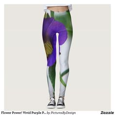 Flower Power! Vivid Purple Pansy on White Leggings