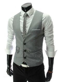 Kris?? $12.11 largest size is L Amazon.com: New Men slim FIT waistcoat Vest Casual Business Waistcoat Vest tops (Asia L (US S), Gray): Beauty