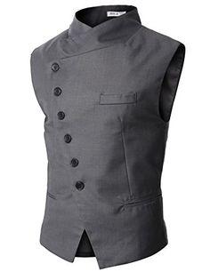 Doublju Mens Slim Vest  with Asymmetry Button GRAY