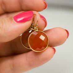 MEMORIAL DAY SALE Round Carnelian earrings Drop by delezhen