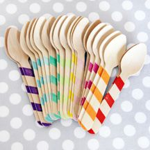 Rainbow Stripes Wooden Ice Cream Spoons, 20 for $8.50  {Shop Sweet Lulu}