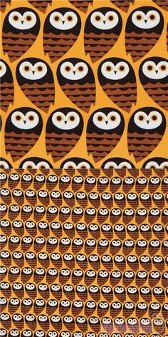 "orange fabric with brown and black owls, Material: 100% cotton, Fabric Type: smooth cotton fabric, Pattern Size: size of the owl: ca. 5.5cm (2.2"") #Cotton #Animals #AnimalPrint #Owls #USAFabrics"