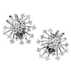 Ice for your ears...VAN CLEEF & ARPELS A Pair of Cluster Design Diamond Earclips