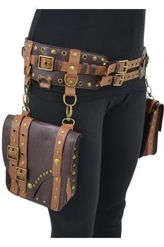 Very cool western steampunk utility saddlebag belt by Restyle. Made of high-quality faux leather, two saddlebag pockets which are detachable, bags are made of t