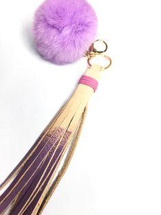 Purple Pom-pom Keychain with Tassel  // Stylish flair for your keys // FUN Leather accessories handmade by StudiOH, Shoppe!