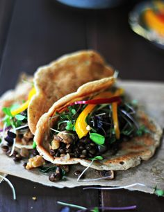 Happy Tacos with Avocado Sauce These tacos are full of so many cortisol balancing foods: lentils, walnuts, mushrooms, spinach, and greens!