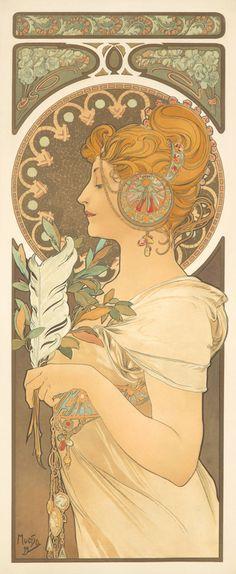 Alphonse Mucha, 'Plume et Primevère', 1899. Two vintage posters in Art Nouveau style.