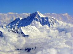 Clouds over Mount Everest. The tallest mountain on Earth.