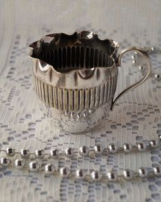 A very sweet antique Victorian creamer, with crimped edge and ribbed detail, electroplated. Made by Round and sons before 1874. by Alexsprettyvintage on Etsy