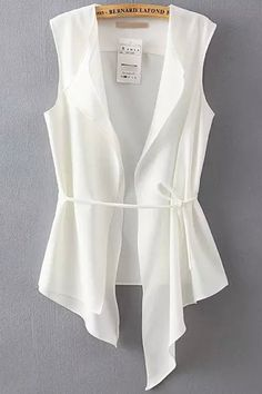 White Sleeveless Asymmetrical Slim Vest