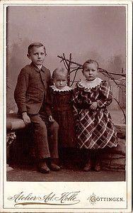 Vintage cabinet card three German children