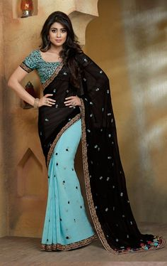 Charming Sky Blue and Black Fashionable Saree with Blouse