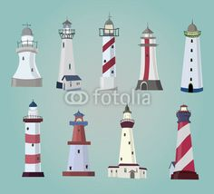 Vecteur : set of cartoon lighthouses. Flat icons.