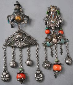 favorite pair of Mongolian component earrings , enameling, silver and coral. (designed by and private collection of Linda Pastorino)