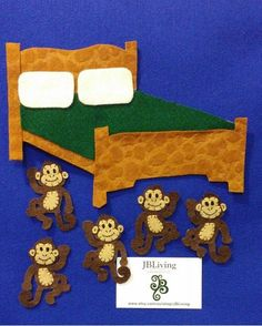 Goes with the Rhyme 5 Little monkeys jumping on the bed. One fell off and bumped his head. Mother called the Doctor and the Doctor said No more monkeys