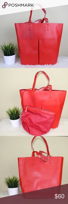 | new |  cruella tote Color : Red Size : Depth : 5inch, Height : 14inch, Width : 12inch  Strap : 25.5inch Exterior : PU 100% / Lining : POLY 100% Bags Totes