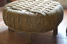 Upcycled tyre with woven 'cover'