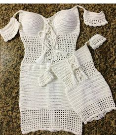 Best Ideas For Crochet Dress Top Baby IdeasThe item was made of cotton yarn The listing is for two piece. Crochet Shorts, Crochet Clothes, Diy Clothes, Crochet Bikini, Crochet Girls, Crochet Baby, Knit Crochet, Festival Outfits, Festival Clothing