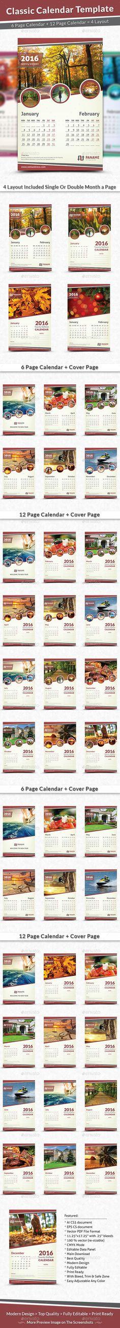 Desk Calendar 2017 Template InDesign INDD | Calendar Templates ...