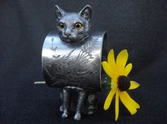 Victorian Figural Cat Napkin Ring With Yellow by AntoinettesWhims, $595.00
