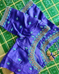 For enquiry mail u Cutwork Blouse Designs, Kids Blouse Designs, Pattu Saree Blouse Designs, Simple Blouse Designs, Stylish Blouse Design, Bridal Blouse Designs, Choli Designs, Sari Blouse, Blue Blouse