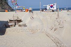 Sand castle on Copacabana beach next to Pyeongchang house during Rio2016 Summer Olympic Games in Rio de Janeiro, Picture taken Aug 9, 2016