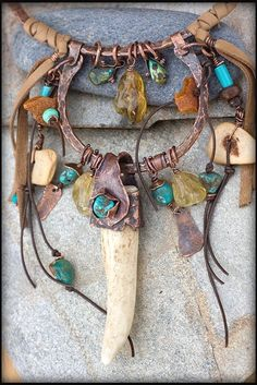 Copper and Antler Ta Copper and Antler Talisman necklace: Unique by AnniamAeDesigns