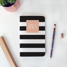 YAY! New #maydesigns monograms are here! Shop this style: http://www.maydesigns.com/shop/books/create/black-rugby-stripe/
