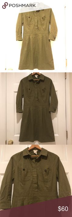 J. Crew Shirtdress J. Crew Shirtdress in army green, soft brushed fabric, 90% cotton, all season wear. Fitted at waist, side zip, 2 button front pockets and 3/4 length sleeves finished with the convenience of pockets! EUC, no flaws! J. Crew Dresses