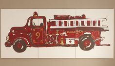 Huge Fire Truck Mural Personalized For Free Kasen S