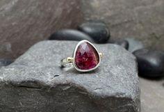 Rose Cut Tourmaline, 14k Gold Granule & Sterling Silver Ring by GlobalPathways on Etsy https://www.etsy.com/listing/256184079/rose-cut-tourmaline-14k-gold-granule