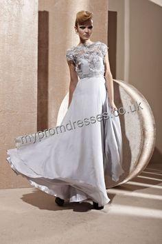 Floor Length Off-the-shoulder Gray Satin A-line Evening Dress  http://www.mypromdresses.co.uk