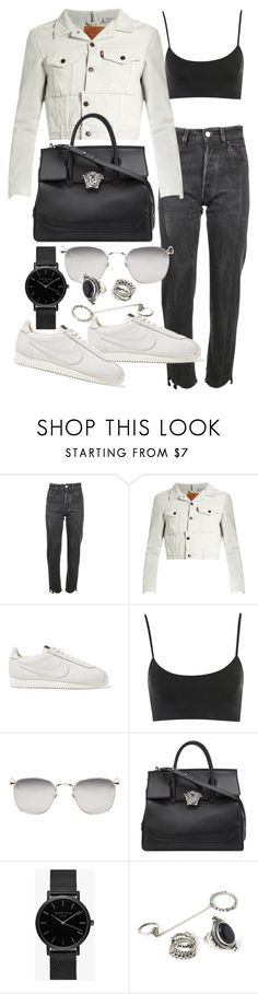 """""""Untitled #22110"""" by florencia95 ❤ liked on Polyvore featuring Vetements, NIKE, Linda Farrow, Versace, ROSEFIELD and Forever 21"""