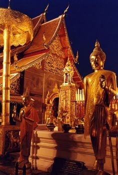 The sacred Theravada Buddhist temple complex at Doi Suthep is atop the mountain of the same name. Ten miles from Chiang Mai, it has spectacular views of the city and is illuminated at night.