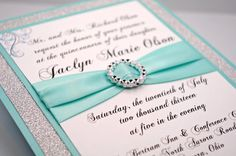 DIY - Print At Home - Aqua Quinceanera/Sweet 16 Invitation Kit - Full of Bling, Sparkle, and Dazzle-Custom & Handmade on Etsy, $3.50