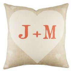 Personalized Heart Pillow in Beige
