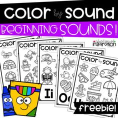 FREEBIE Color by Sound Beginning Sounds by Education and Inspiration Early Literacy, Preschool Learning, Kindergarten Classroom, Kindergarten Activities, Literacy Centers, Alphabet Sounds, Letter Sounds, Spanish Alphabet, Initial Sounds