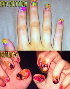 Psychedelic Tie-Dye Manicure. | 15 Pinterest Nail Artists Who Aimed So High But Failed So Hard